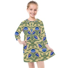 Pattern Thistle Structure Texture Kids  Quarter Sleeve Shirt Dress by Pakrebo