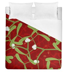 Mistletoe Christmas Texture Advent Duvet Cover (queen Size) by Pakrebo