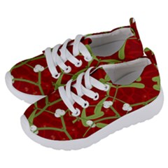 Mistletoe Christmas Texture Advent Kids  Lightweight Sports Shoes by Pakrebo