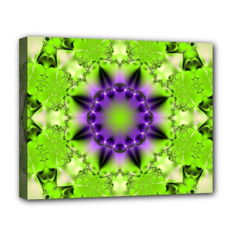 Pattern Abstract Background Art Green Deluxe Canvas 20  X 16  (stretched) by Pakrebo