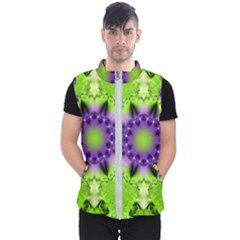 Pattern Abstract Background Art Green Men s Puffer Vest