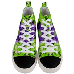 Pattern Abstract Background Art Green Men s Mid Top Canvas Sneakers