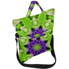 Pattern Abstract Background Art Green Fold Over Handle Tote Bag