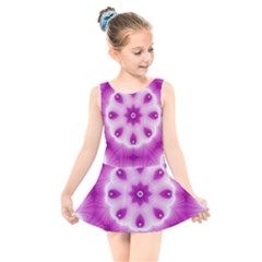 Pattern Abstract Background Art Purple Kids  Skater Dress Swimsuit