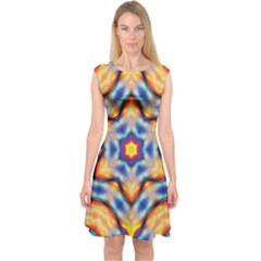 Pattern Abstract Background Art Capsleeve Midi Dress