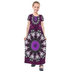 Kaleidoscope Round Circle Geometry Kids  Short Sleeve Maxi Dress