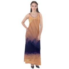 Landscape Nature Mountains Sky Sleeveless Velour Maxi Dress