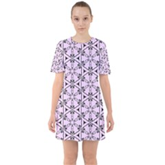 Default Texture Tissue Seamless Sixties Short Sleeve Mini Dress