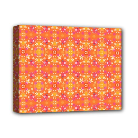 Desktop Pattern Abstract Orange Deluxe Canvas 14  X 11  (stretched) by Pakrebo