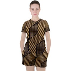 Cubes Light Geometry Shines Women s Tee And Shorts Set by Pakrebo