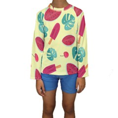 Watermelon Leaves Strawberry Kids  Long Sleeve Swimwear by Pakrebo