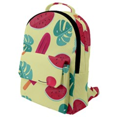 Watermelon Leaves Strawberry Flap Pocket Backpack (small)