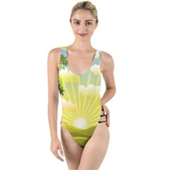 Wallpaper Background Landscape High Leg Strappy Swimsuit