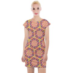 Pattern Decoration Abstract Flower Cap Sleeve Bodycon Dress by Pakrebo