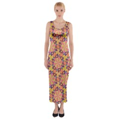 Pattern Decoration Abstract Flower Fitted Maxi Dress