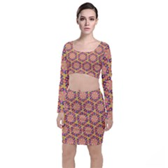 Pattern Decoration Abstract Flower Top And Skirt Sets