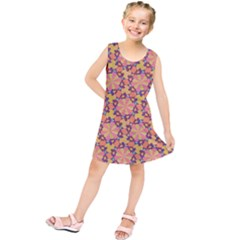 Pattern Decoration Abstract Flower Kids  Tunic Dress