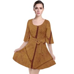 Leaf Fall Foliage Nature Orange Velour Kimono Dress