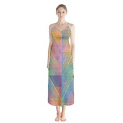 Triangle Pattern Mosaic Shape Button Up Chiffon Maxi Dress by Pakrebo