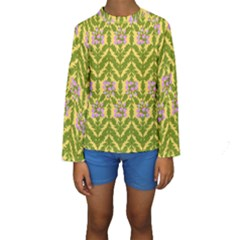 Texture Heather Nature Kids  Long Sleeve Swimwear by Pakrebo
