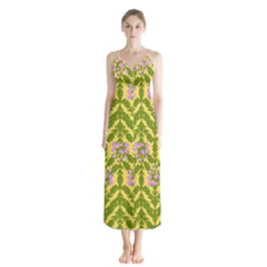 Texture Heather Nature Button Up Chiffon Maxi Dress by Pakrebo