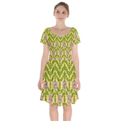 Texture Heather Nature Short Sleeve Bardot Dress