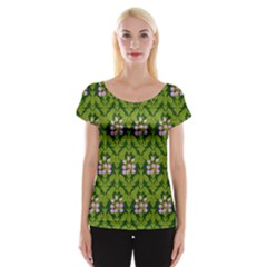 Pattern Nature Texture Heather Cap Sleeve Top