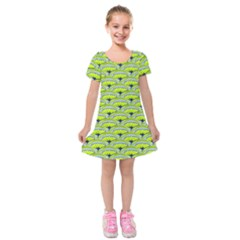 Texture Green Plant Leaves Arches Kids  Short Sleeve Velvet Dress