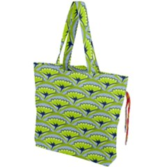 Texture Green Plant Leaves Arches Drawstring Tote Bag