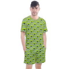 Texture Green Plant Leaves Arches Men s Mesh Tee And Shorts Set