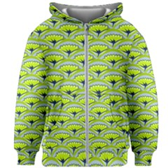Texture Green Plant Leaves Arches Kids  Zipper Hoodie Without Drawstring
