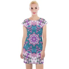 Mandala Pattern Abstract Cap Sleeve Bodycon Dress