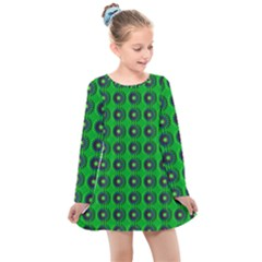 Texture Stucco Graphics Flower Kids  Long Sleeve Dress