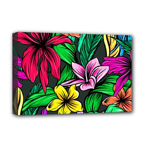 Hibiscus Flower Plant Tropical Deluxe Canvas 18  X 12  (stretched) by Pakrebo