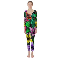 Hibiscus Flower Plant Tropical Long Sleeve Catsuit