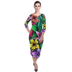 Hibiscus Flower Plant Tropical Quarter Sleeve Midi Velour Bodycon Dress