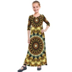 Pattern Abstract Background Art Kids  Quarter Sleeve Maxi Dress by Pakrebo