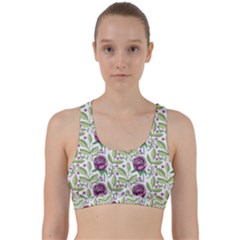 Default Texture Background Floral Back Weave Sports Bra