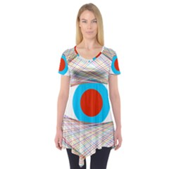 Line Art Geometric Design Line Short Sleeve Tunic