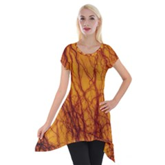 Lightning Internal Blood Vessel Short Sleeve Side Drop Tunic