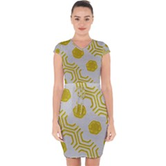 Abstract Background Hexagons Capsleeve Drawstring Dress