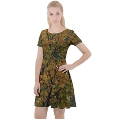 Autumn Trees Cap Sleeve Velour Dress