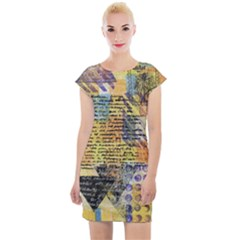 Old Paper Vintage Cap Sleeve Bodycon Dress