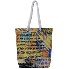 Old Paper Vintage Full Print Rope Handle Tote (small)