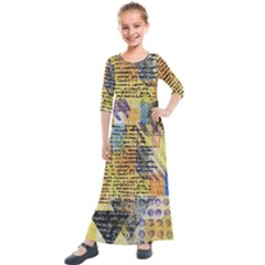 Old Paper Vintage Kids  Quarter Sleeve Maxi Dress by Pakrebo