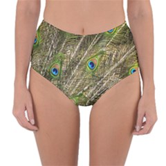 Green Peacock Feathers Color Plumage Reversible High Waist Bikini Bottoms