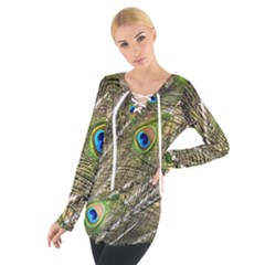 Green Peacock Feathers Color Plumage Tie Up Tee