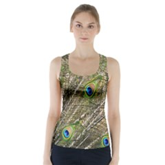 Green Peacock Feathers Color Plumage Racer Back Sports Top