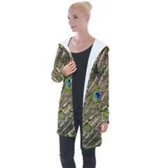 Green Peacock Feathers Color Plumage Longline Hooded Cardigan