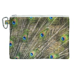 Green Peacock Feathers Color Plumage Canvas Cosmetic Bag (xl)